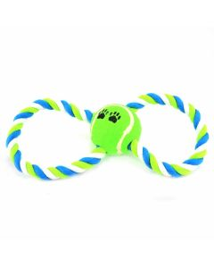 Cotton Rope Toy With Tennis Ball For Dogs