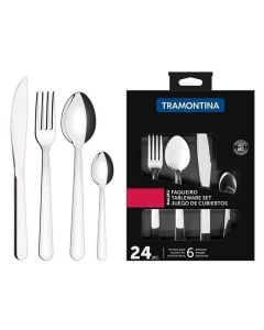 Tramontina Malibu Smooth Stainless Steel Flatware Set 24 Pieces
